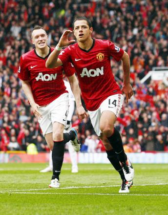 Javier Hernandez celebrates scoring for Manchester United