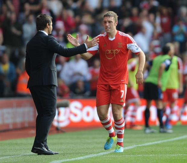 Basingstoke Gazette: Mauricio Pochettino with Rickie Lambert