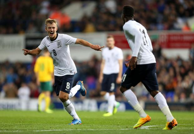 Basingstoke Gazette: James Ward-Prowse celebrates scoring for England U21s last year