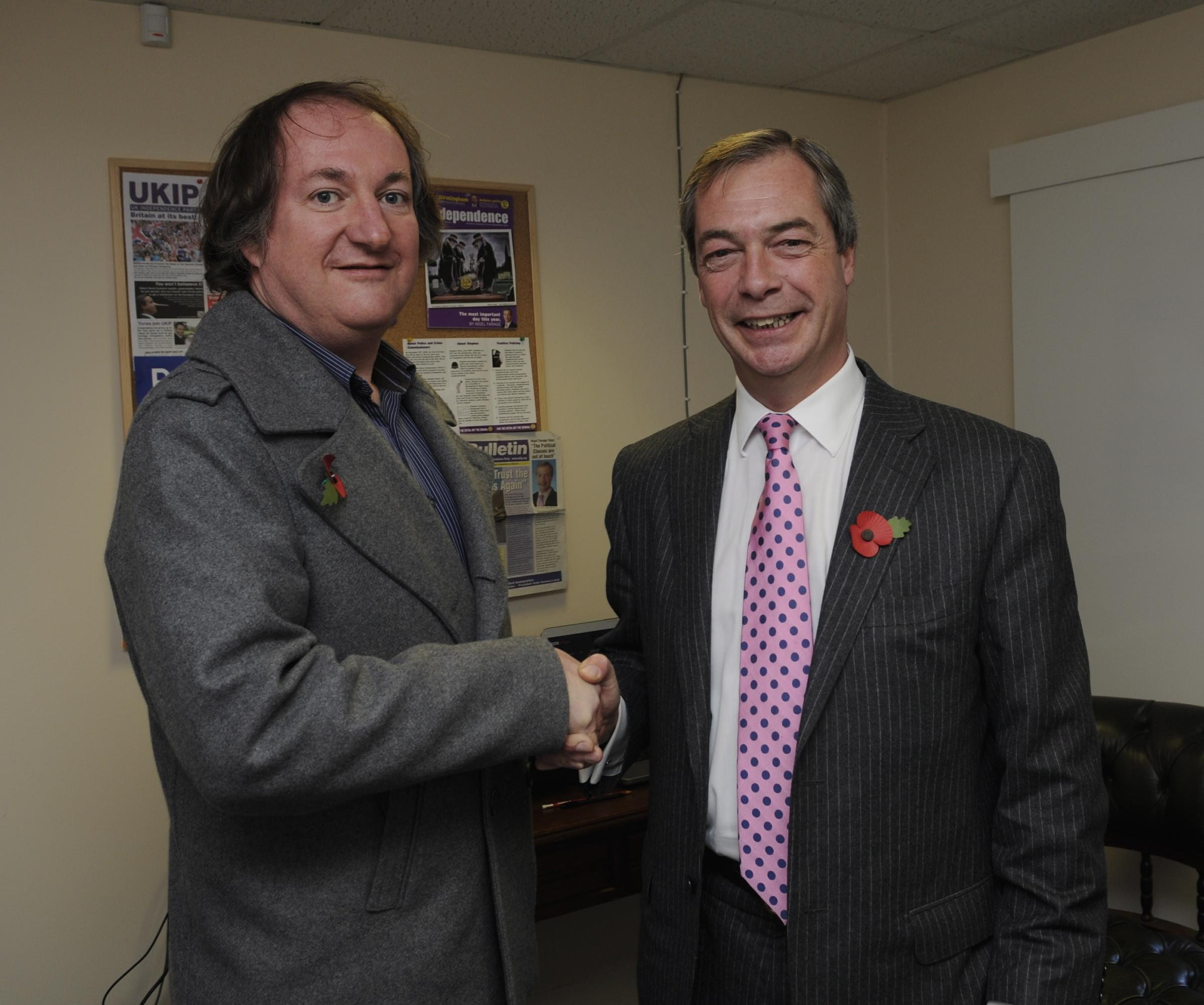 Alan Stone, left, with UKIP leader Nigel Farage.