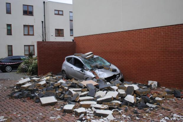 The crushed car in Northbrook Crescent, Rooksdown