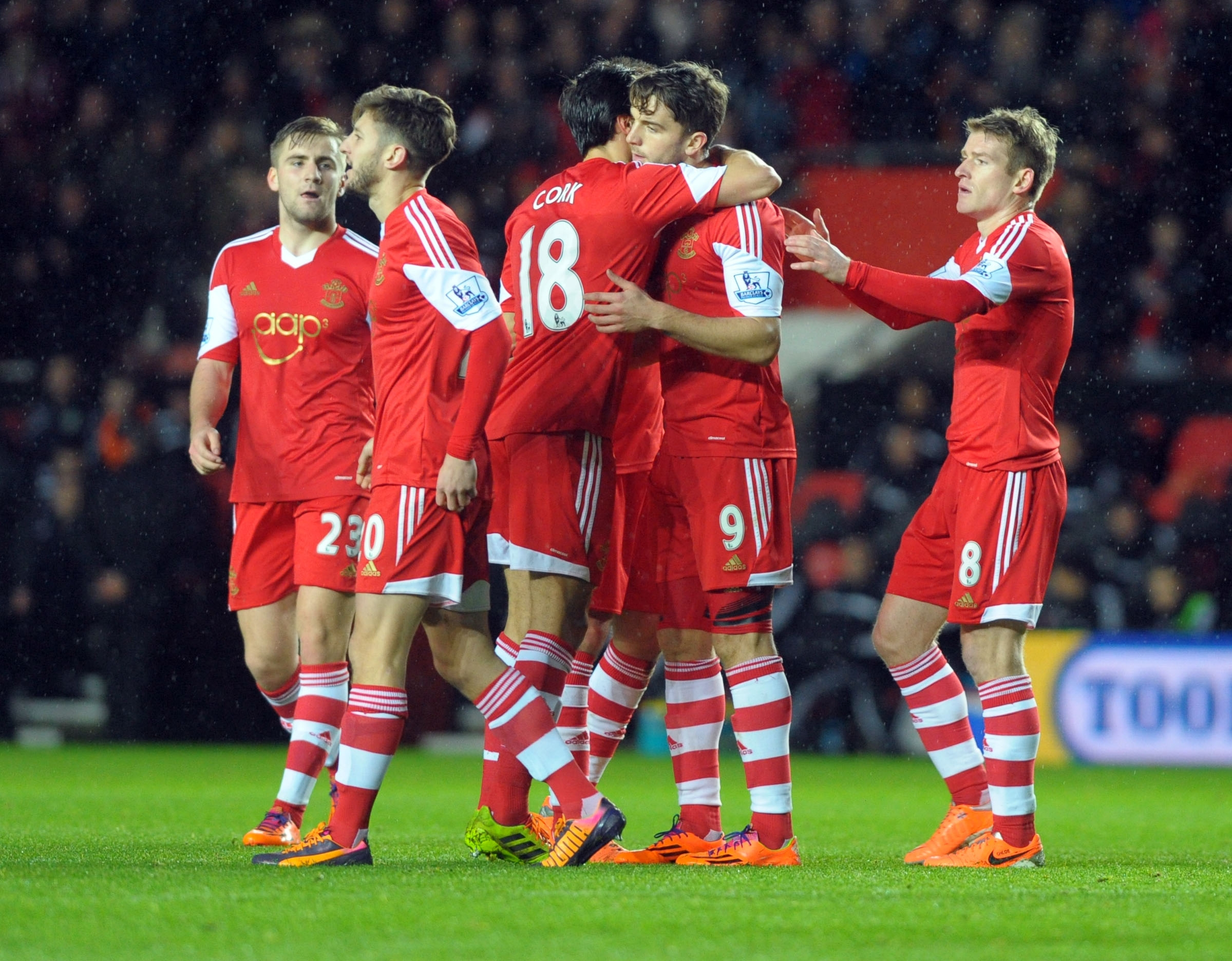Jay Rodriguez is congratulated after scoring against Burnley yesterday.