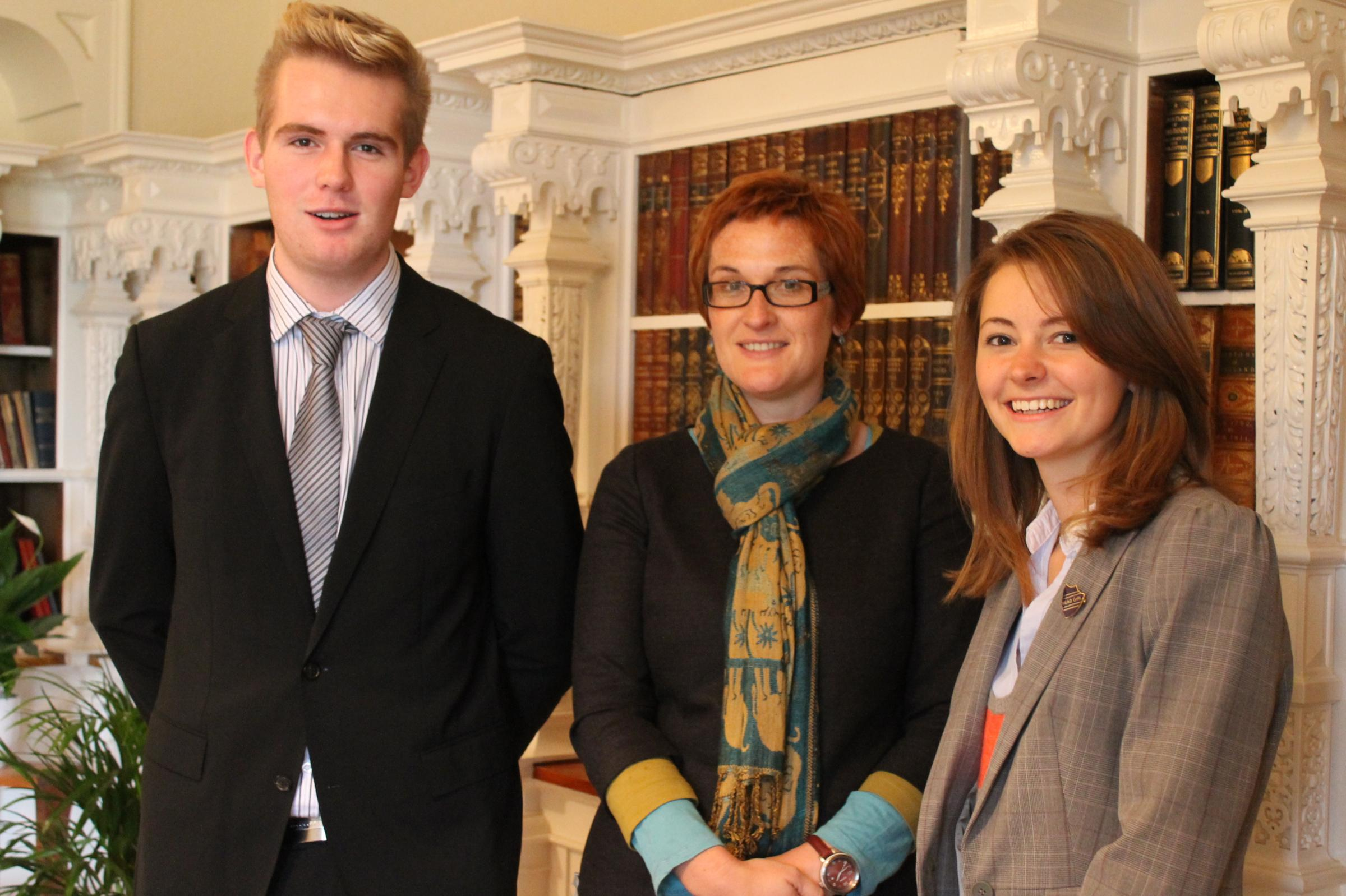 New HCS head, Emma-Kate Henry, flanked by head boy, Kieran Gardiner and head girl, Charlotte Thorn