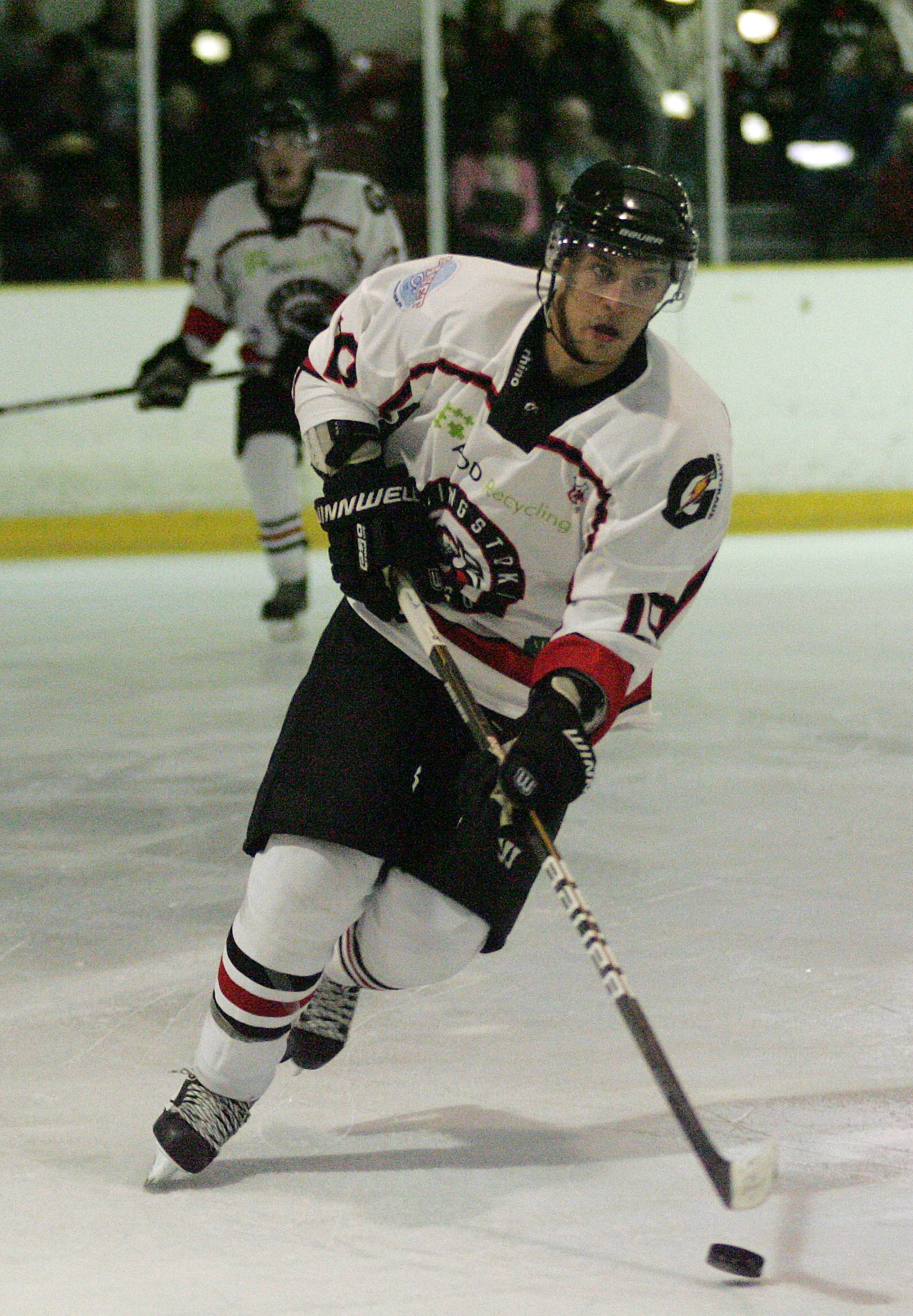 Andy Melachrino bagged a brace as Basingstoke Bison secured a three-goal lead in the first leg of the EPL Cup final.