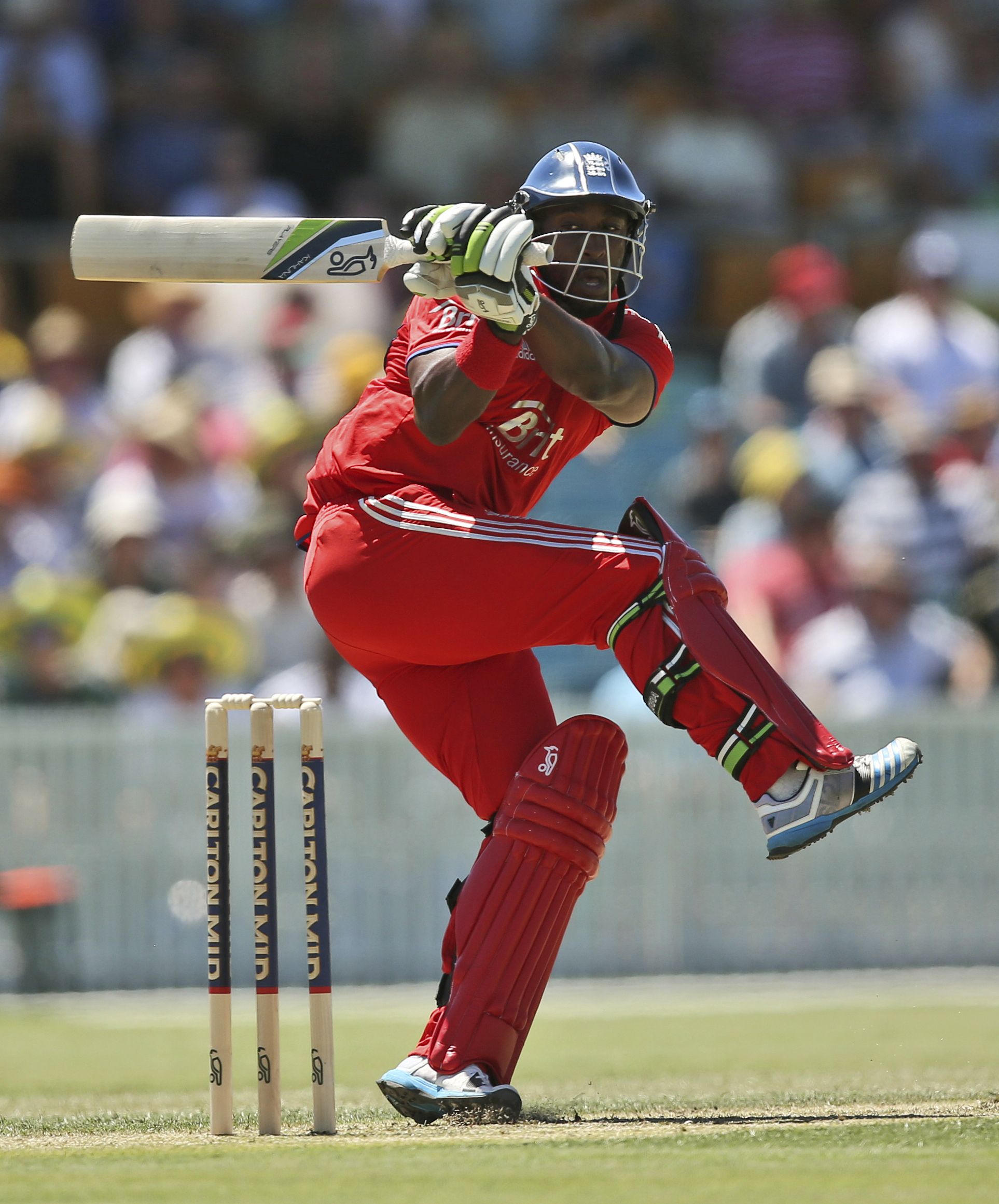 Michael Carberry on his way to 47 for England today