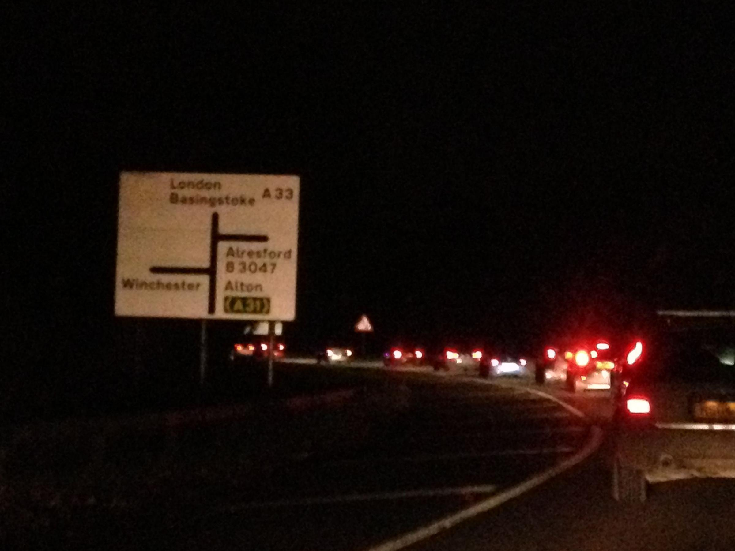 The crash caused tailbacks on the A33 this evening.