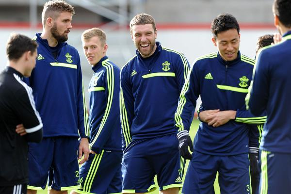 Basingstoke Gazette: Jos Hooiveld, James Ward-Prowse, Rickie Lambert and Maya Yoshida at training at Staplewood.