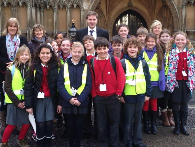 The children outside Parliament with MP Steve Brine