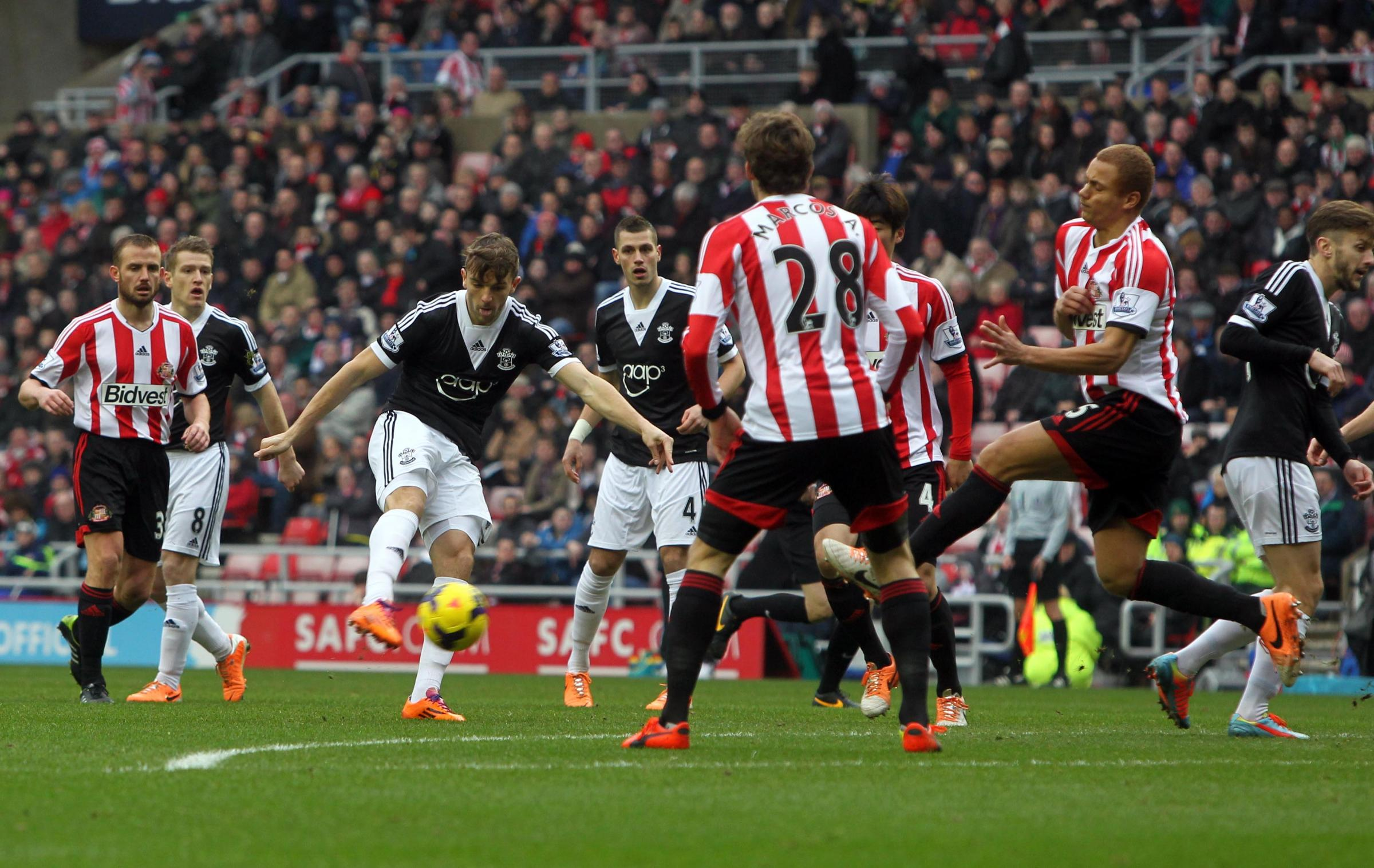 Jay Rodriguez firing towards the back of the net to open the scores