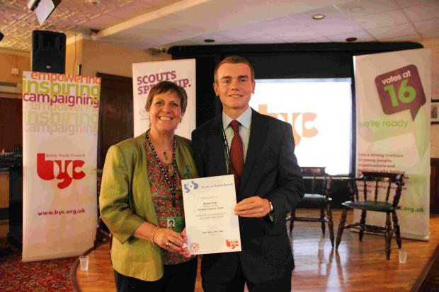 Basingstoke Gazette: Julia Hilling, MP for Bolton West and trustee for the British Youth Council, with Benjamin Farnes.
