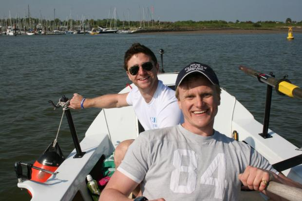 Basingstoke Gazette: All aboard! Will at the front, Dan at the back on their long haul trip. Credit: www.jellyfish.co.uk/atlanticrow201