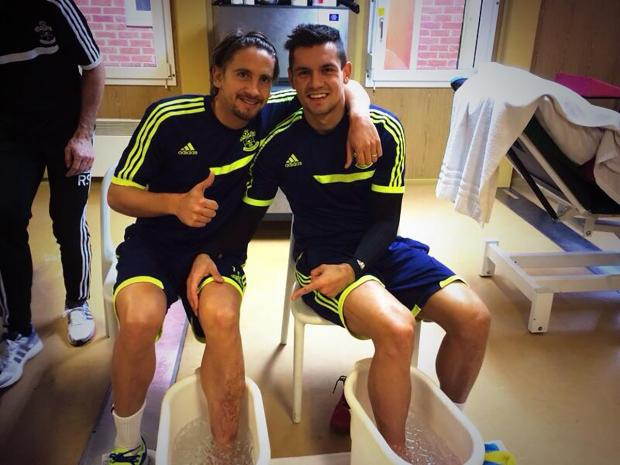 Gaston Ramirez, left, and Dejan Lovren on Twitter