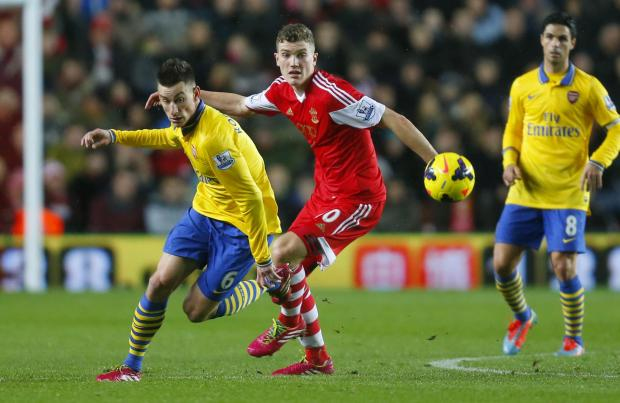 Sam Gallagher in action against Arsenal last night