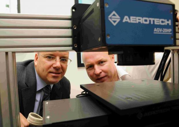 Basingstoke Gazette: L-R: Aerotech president and CEO Mark Botos with managing director Cliff Jolliffe