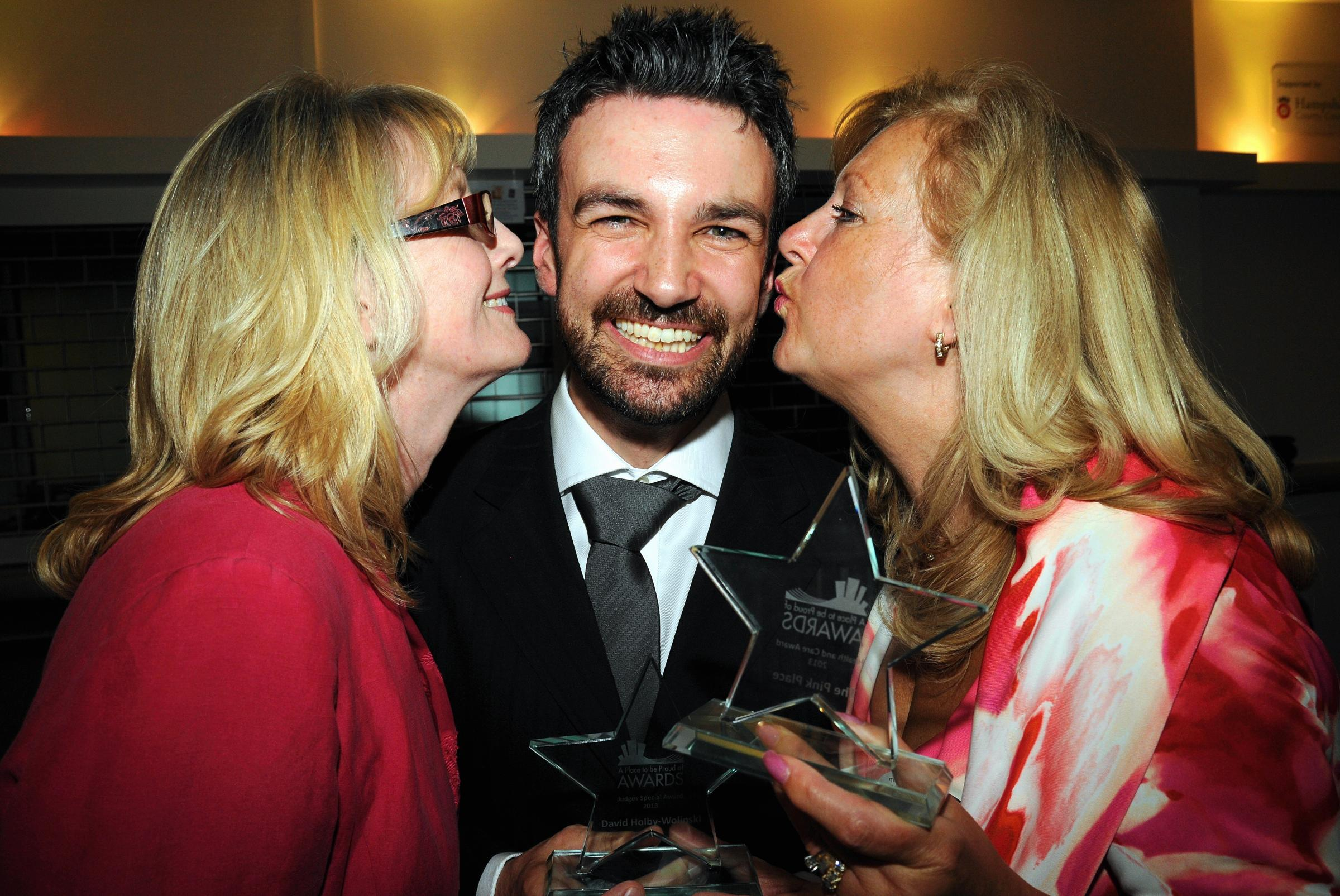 All winners – David Holby-Wolinski with Lindy Richardson and Janis Taylor, from The Pink Place, at the 2013 awards