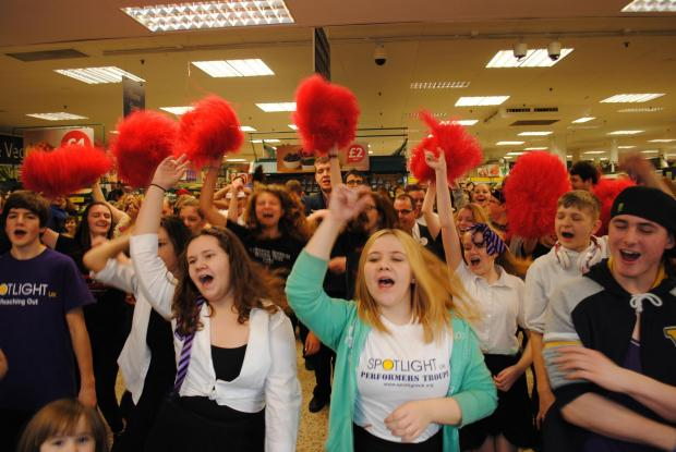 Shoppers and staff at Tesco in Chineham in the Dance for Diabetes fundraising event