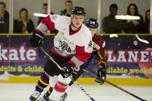 Basingstoke Gazette: Joe Rand scores one of the Bison's goal