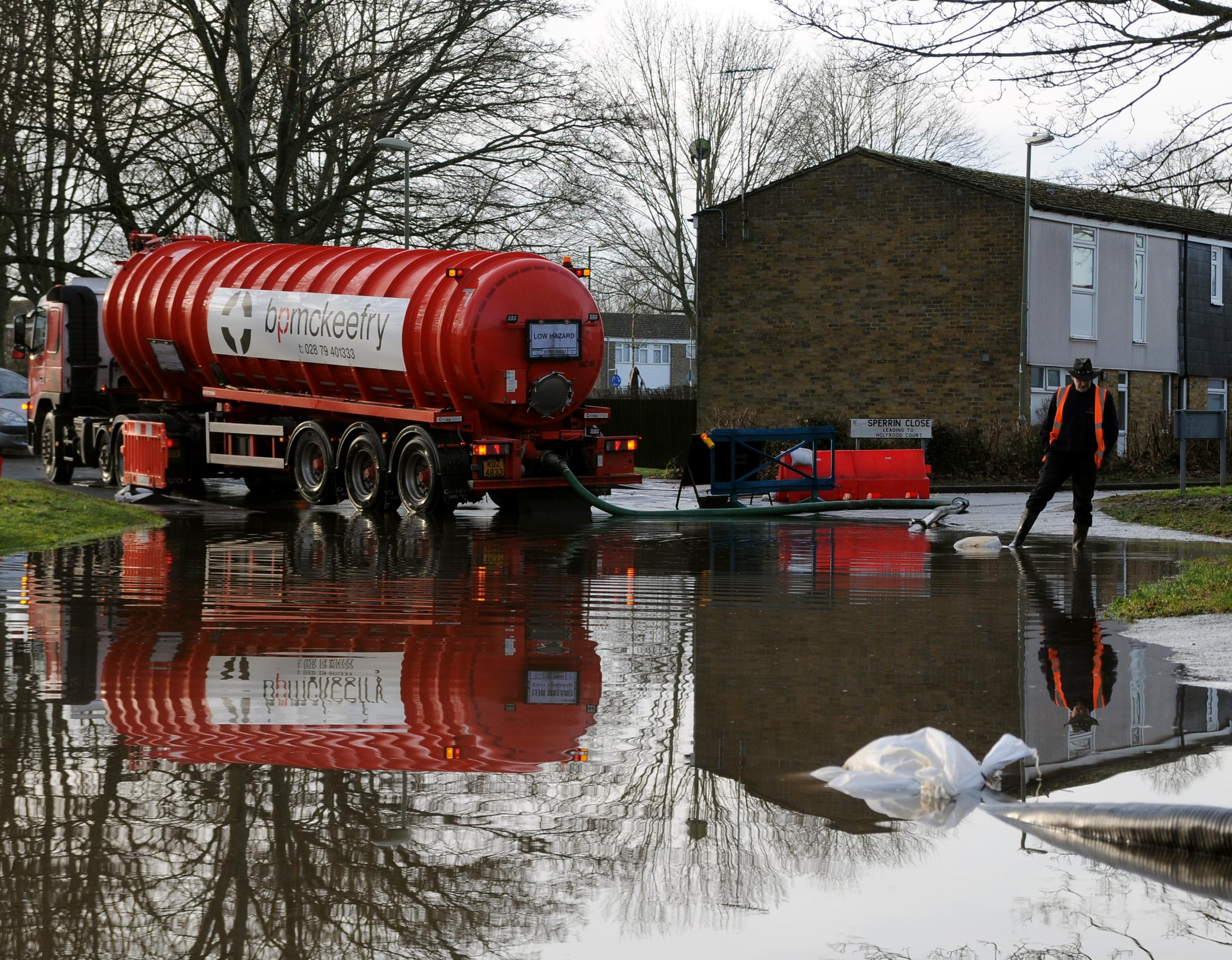One of the tankers which have been used round the clock to pump away floodwater in Buckskin