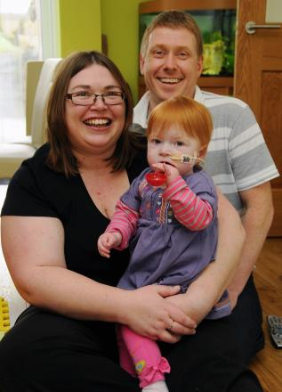 Adrian Linsell and Lisa Budd with daughter Madeleine Linsell who was born with a serious congenital heart defect