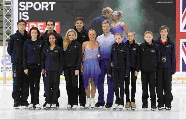 Danielle Harrison, fourth from right, with Torvill and Dean in Sarajevo.