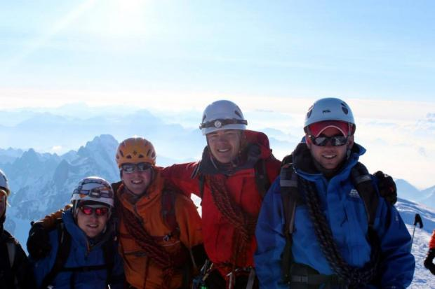 Joe Doherty, second from left, with his fellow climbers