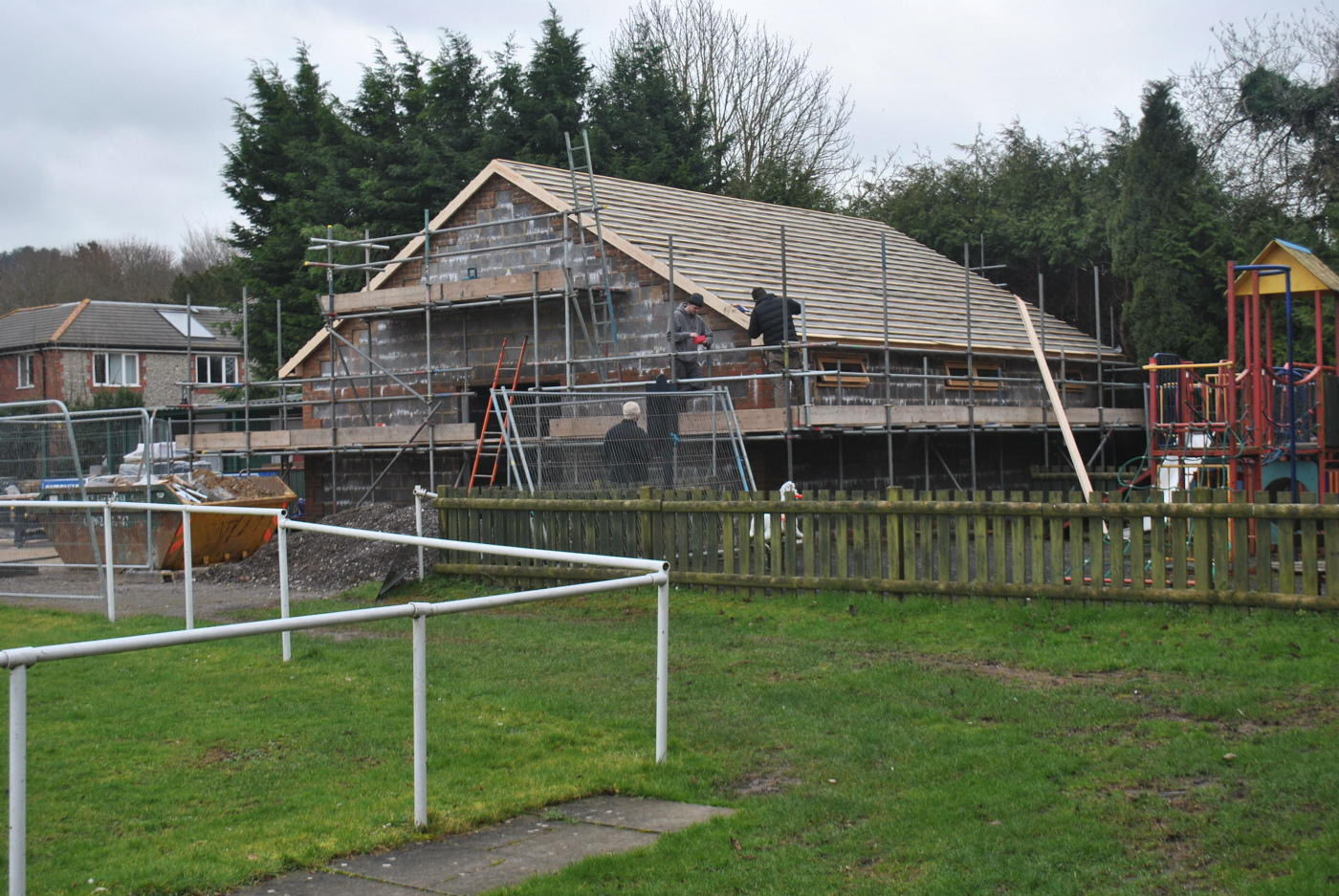 Stockbridge's pavilion is well behind schedule due to the weather and will not know help stage Wessex League football for the foreseeable future