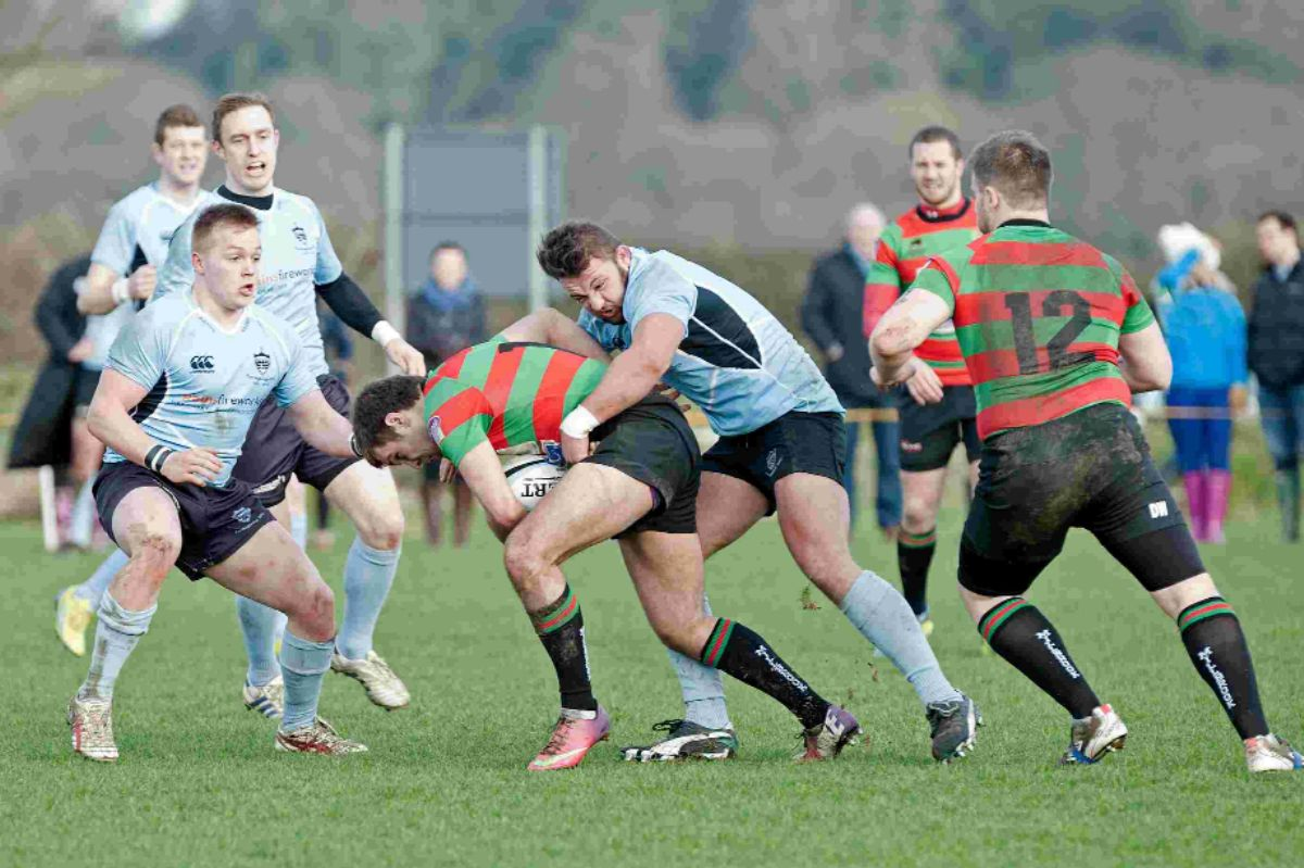 Bobby Brown tackles a Millbrook centre during Fordingbridge's win last weekend.
