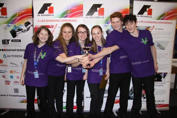 Team Venom, from left to right, Bethany Wilkinson, 14, manufacturing engineer; Aimee Ellerbeck, 14, resources manager; Katie Halley, 14, resources manager; Rachel Scott, 13, design engineer; Jake Meakin, 14, team manager and Malachi Gair, 14