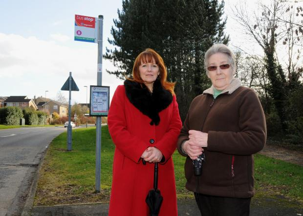 Councillor Terri Reid, left, with Hatch Warren resident Jackie Riches