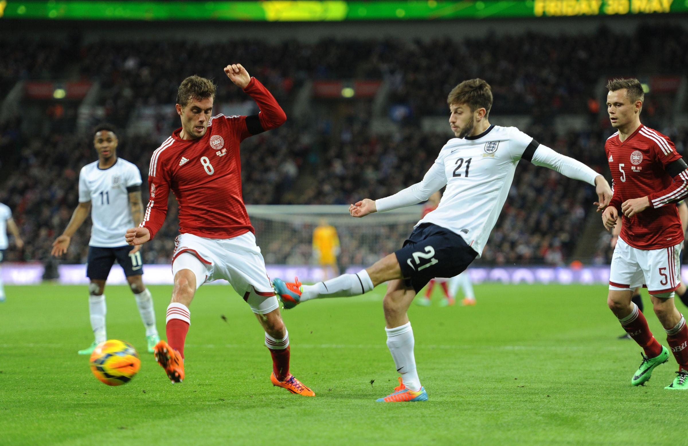 Adam Lallana in action last night