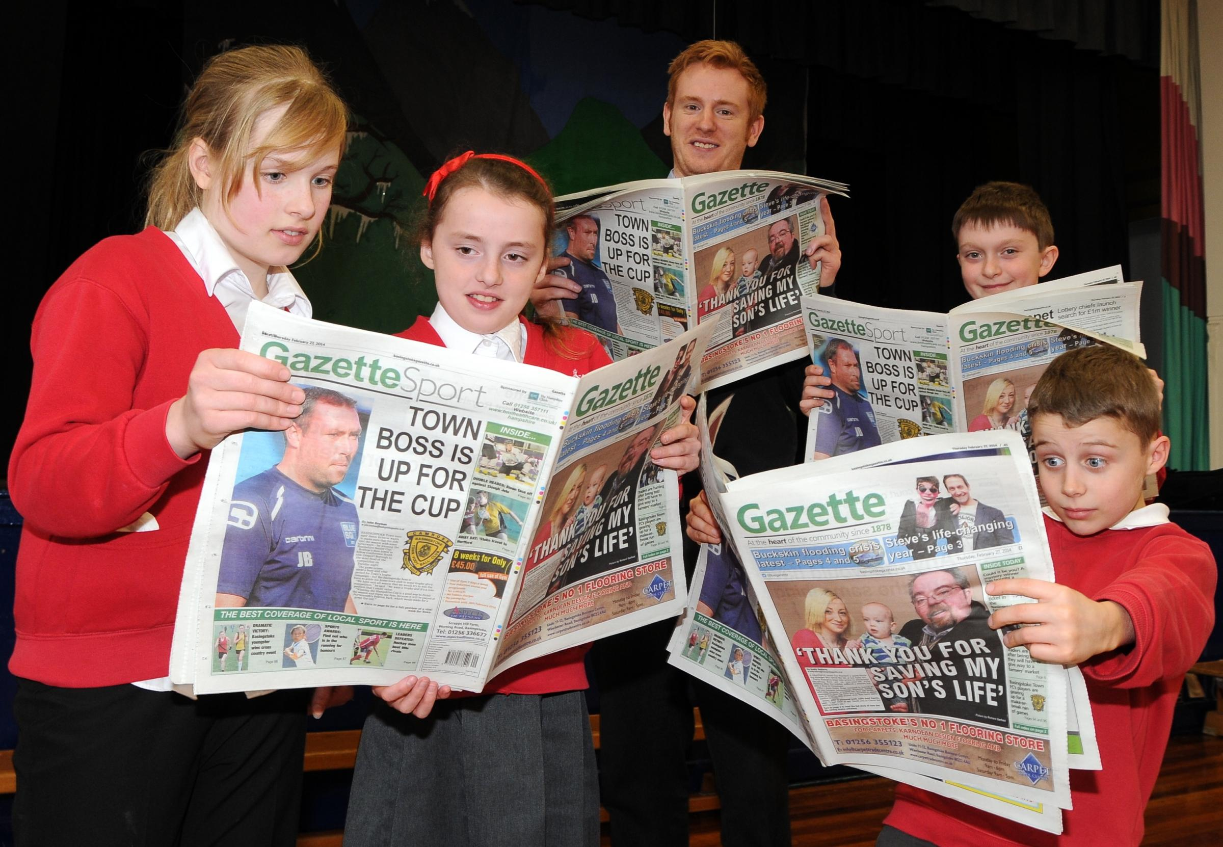 Reporter Chris Gregory with pupils from Mayhill Junior School.