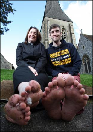 Rev Victoria Ashdown and Pastor Andy Fitchett are going barefoot for Lent.