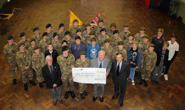 Winchester Army Cadets with Tony Dowland (far left), David Harrison (right) and Vice Lord Lieutenant Nigel Atkinson (far right).