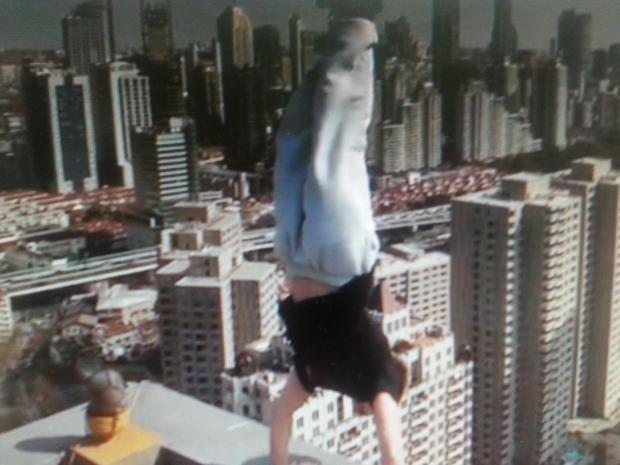 Video: Basingstoke man does headstand on edge of 40-storey building