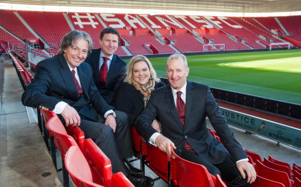 Gareth Rogers, second left, pictured at St Mary's recently with director Hans Hofstetter , owner Katharani Liebherr and chairman Ralph Krueger