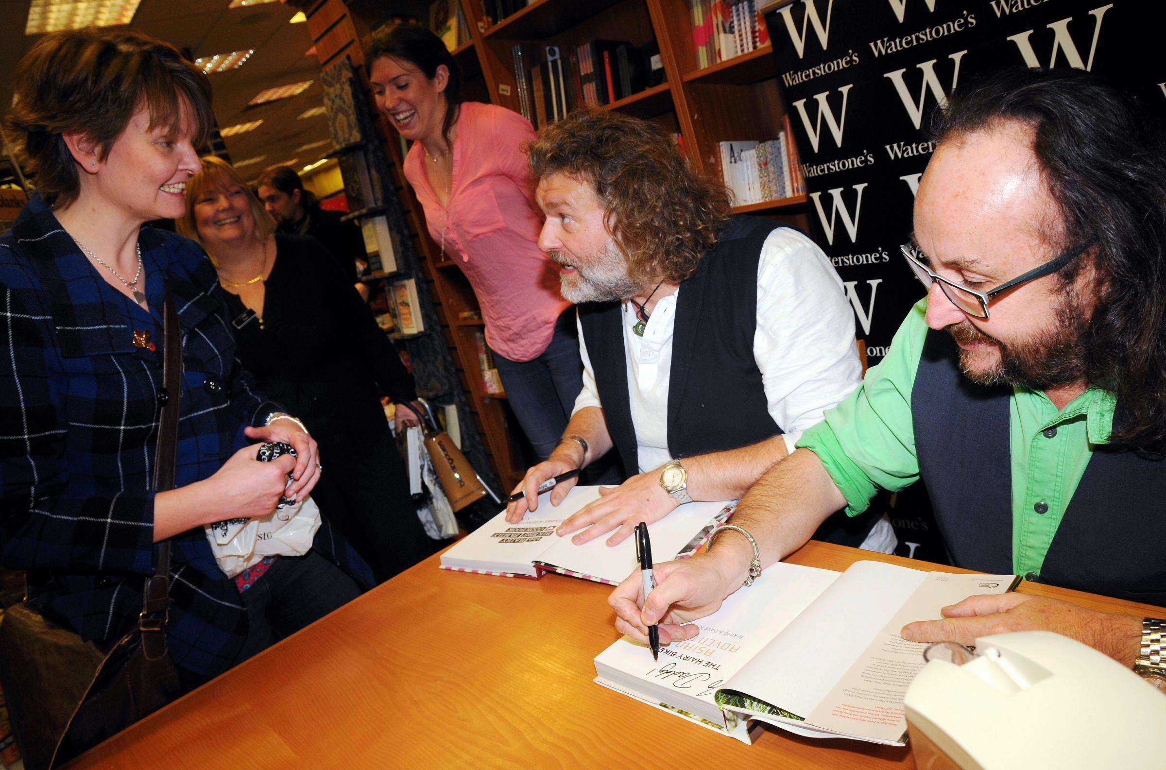 The Hairy Bikers, Si King and Dave Myers, sign copies of their new book in Waterstone's, Festival Place.