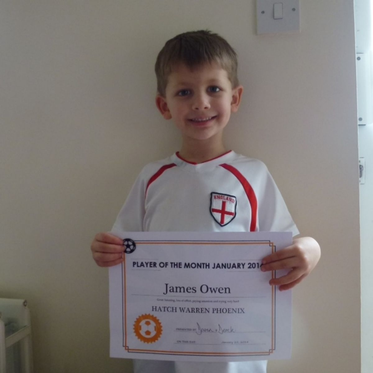 Player of the month James Owen.