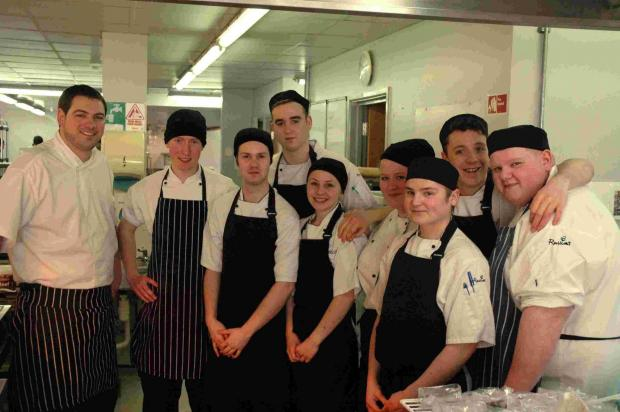 Chef Phil Yeomans, left, with some of the students
