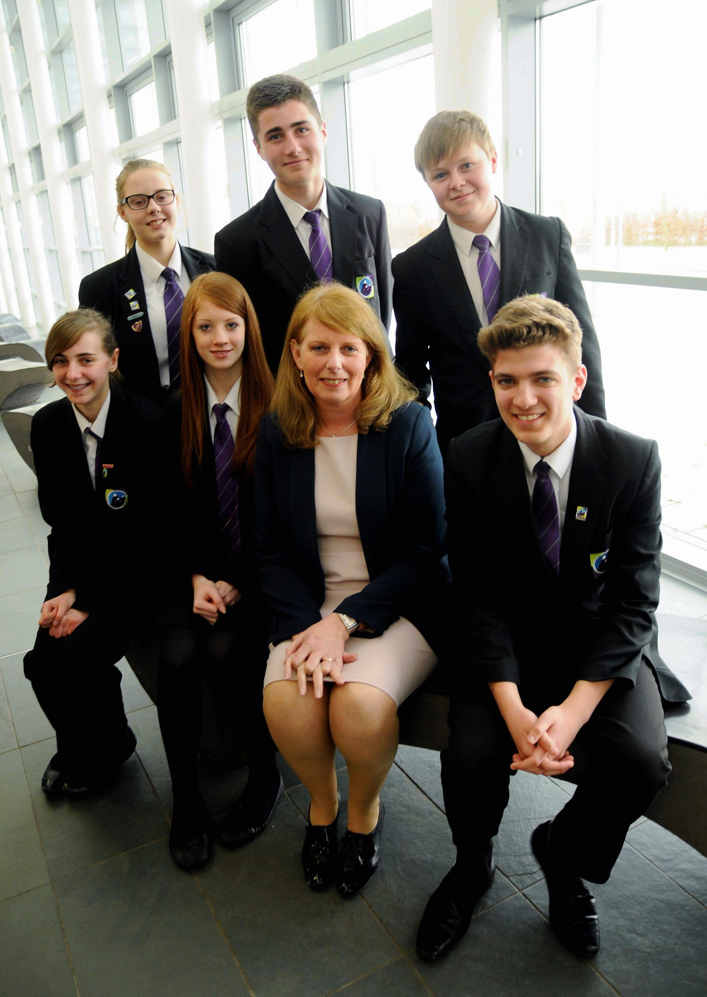 Julie Rose with some Year 11 pupils