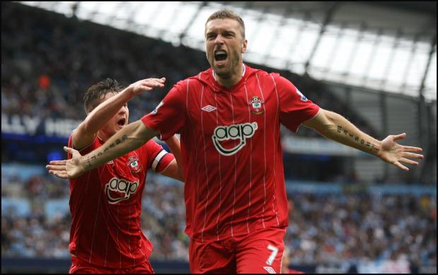 Basingstoke Gazette: Rickie Lambert scores at The Etihad last season, but Saints still ended up on the losing side.