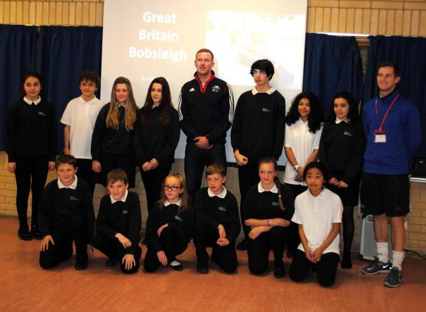 Will Golder with pupils from Fort Hill Community School and Cranbourne Buisness and Enterprise College