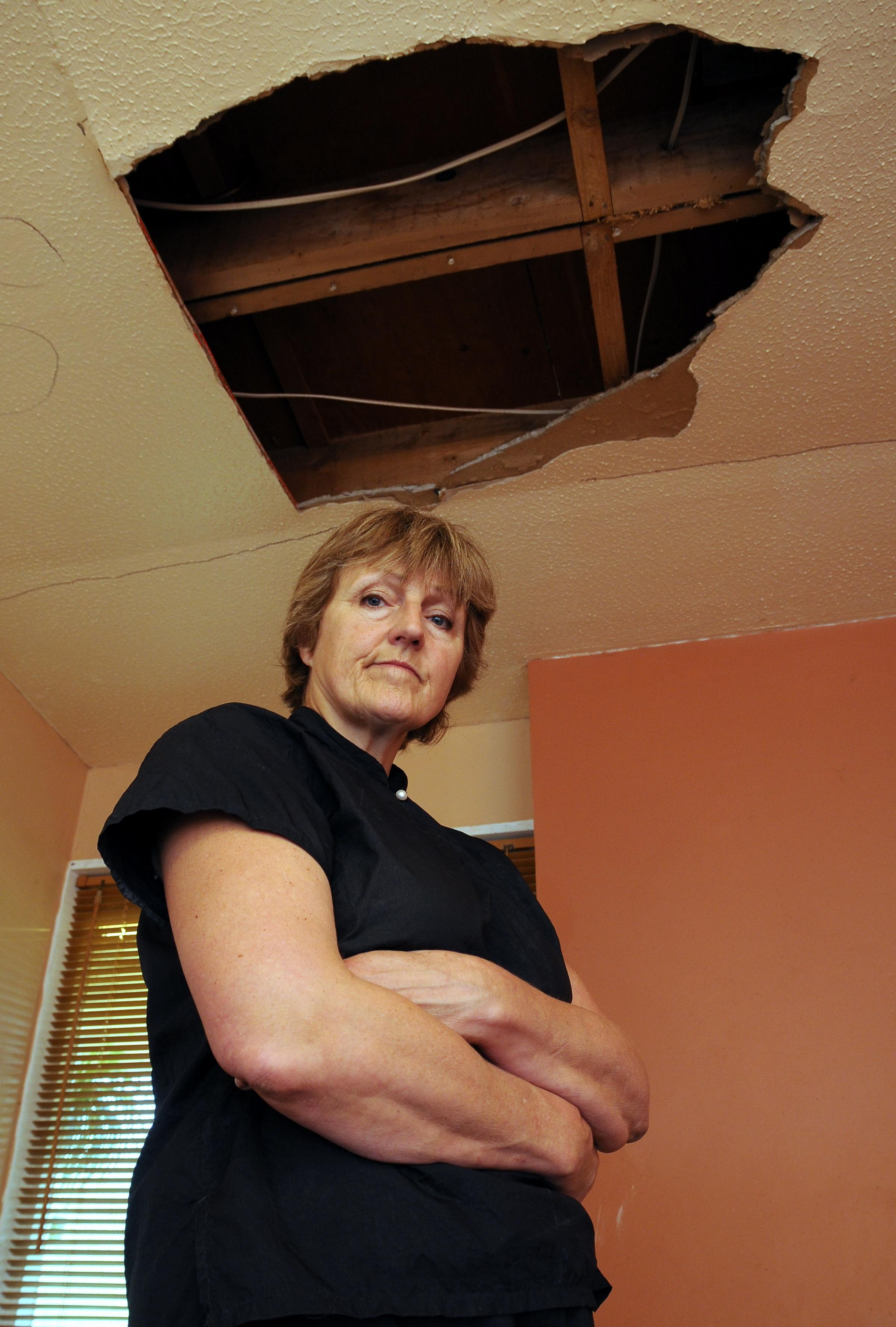 Kath Gorick in her damaged home.