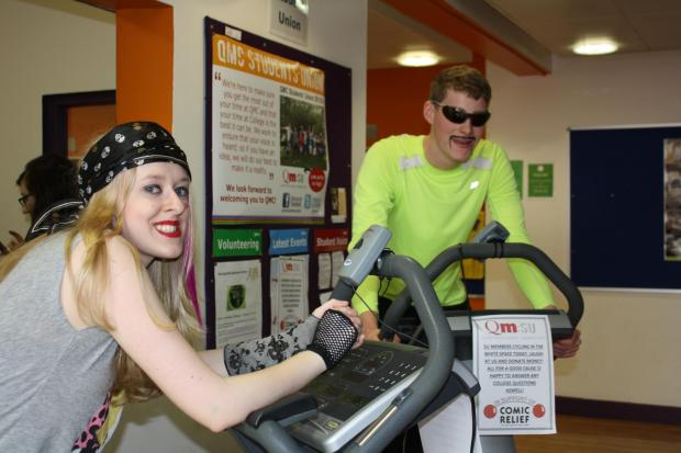 Rachel Potter and Janos Reeves cycle to raise money for Sport Relief.