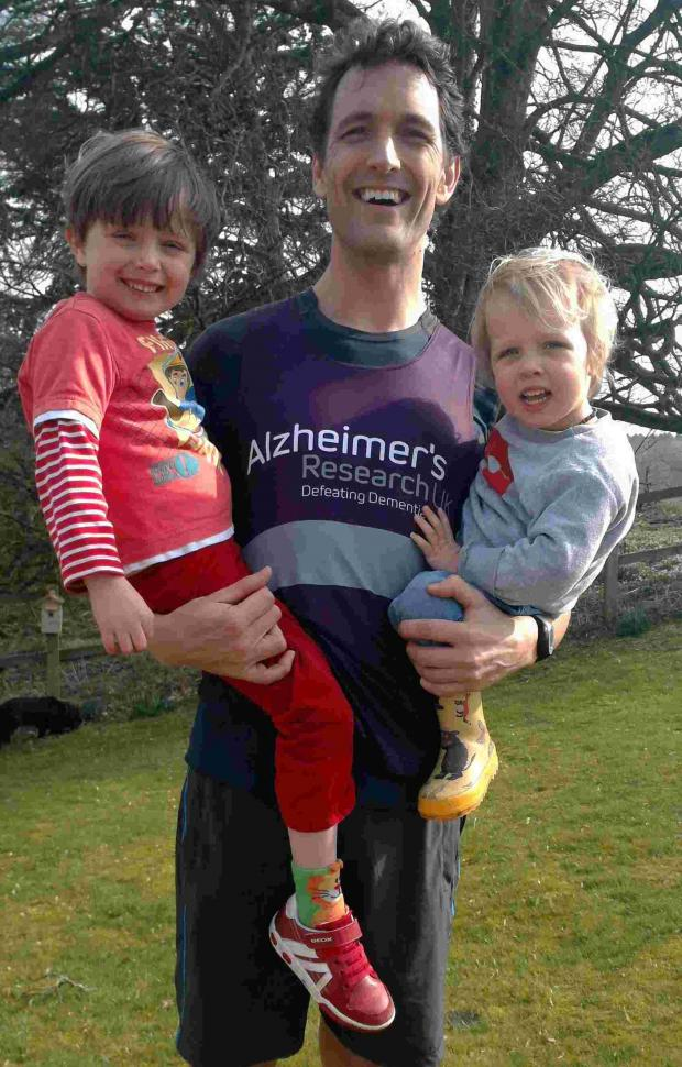 Basingstoke Gazette: Fergus Graham with his sons Arlo and Gabriel
