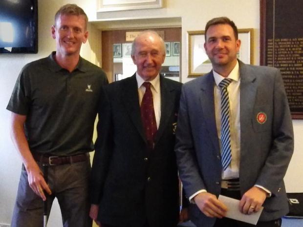 Gordon Wardrop and Scott Shibley with club captain Brian Hutchins (centre)