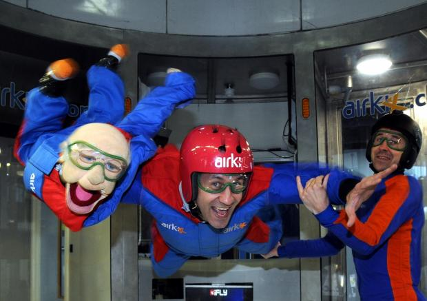 Steve Hewlett and Arthur Lager are given a helping hand by Airkix instructor Chris Andrew.
