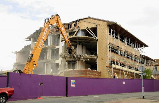 1980s office block being demolished to make way for Premier Inn