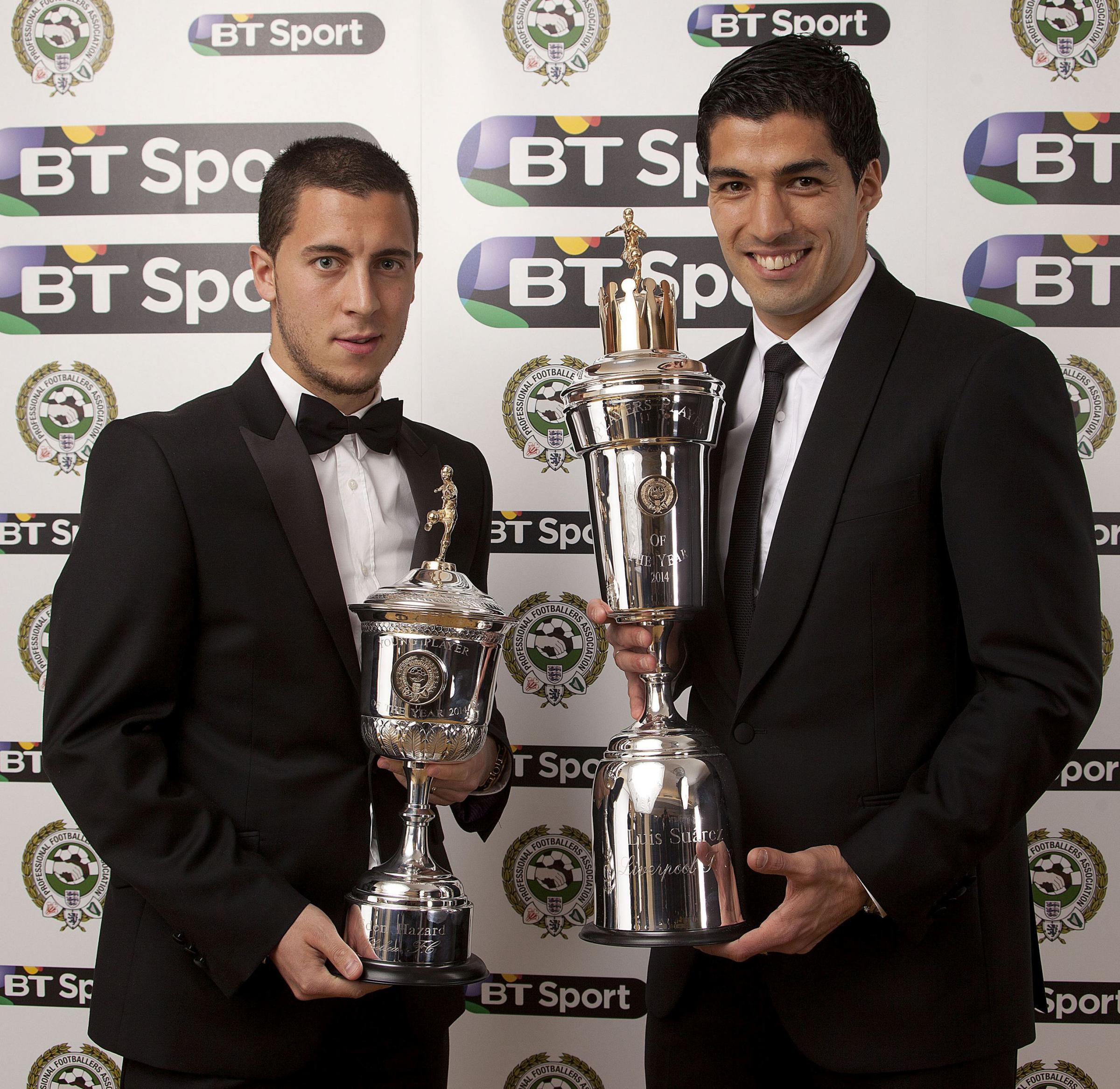 Eden Hazard, left, and Luis Suarez with their PFA awards tonight