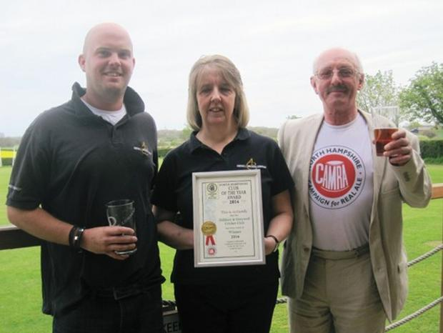 From left: Phil Thomas, of Andwell Brewing Company, bar manager, Donna Munt with the CAMRA certificate, and Jim Turner, from the north Hampshire branch of CAMRA
