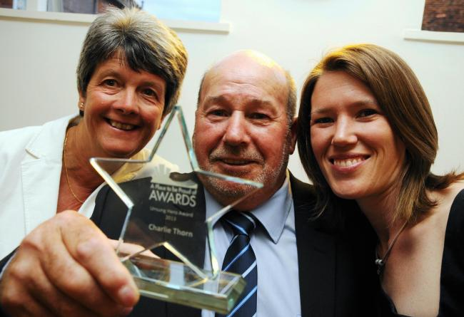 Charlie Thorn, who won the 2013 Unsung Hero Award, with partner Brenda Shelbourn, and, right, Amy Mosdell, who nominated him